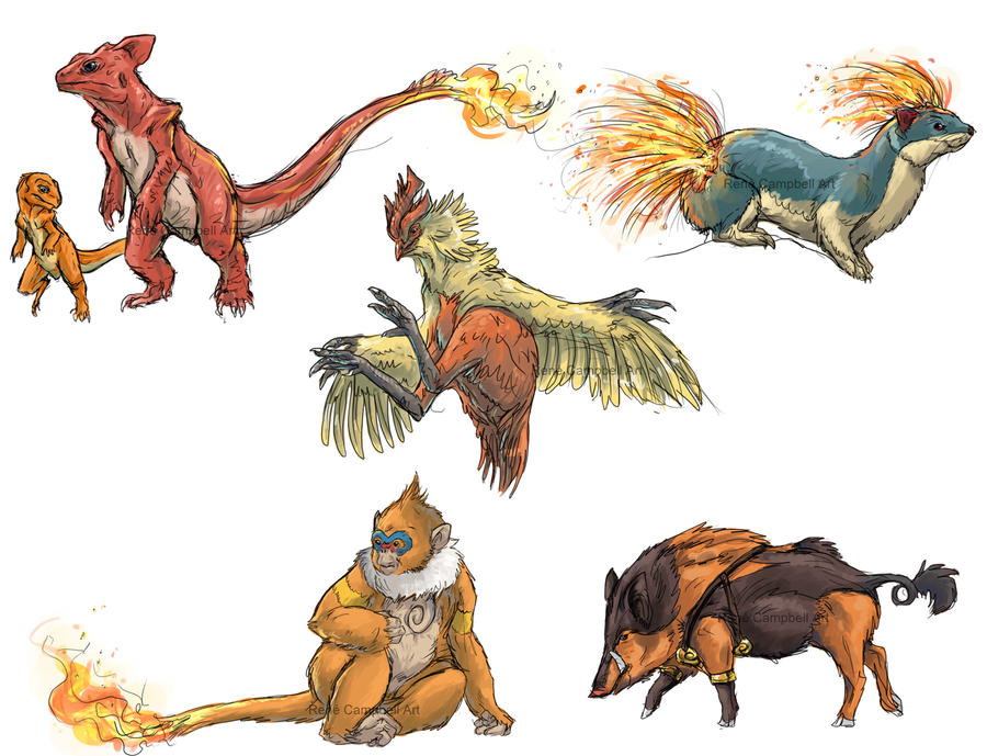 Imagenes , loles - Página 20 Realistic_pokemon_sketches__fire_2nd_evolutions_by_nauvasca-d5jf5si