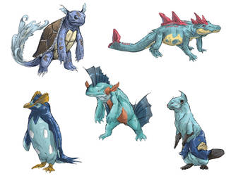 Realistic Pokemon Sketches: Water 2nd Evolutions by ReneCampbellArt