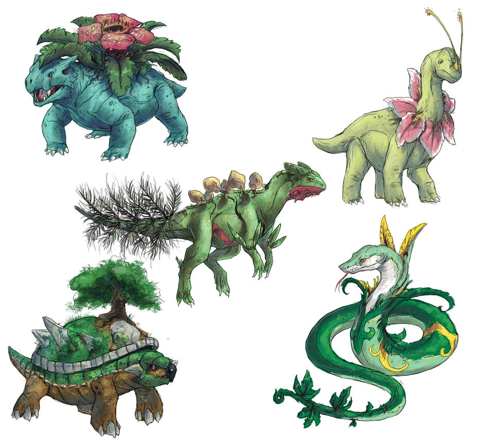 Realistic Pokemon Sketches: Grass Final Evolutions by ReneCampbellArt