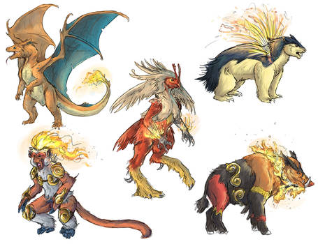 Realistic Pokemon Sketches: Fire Final Evolutions