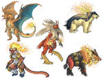 Realistic Pokemon Sketches: Fire Final Evolutions