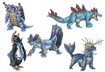 Realistic Pokemon Sketches: Water Final Evolutions by ReneCampbellArt