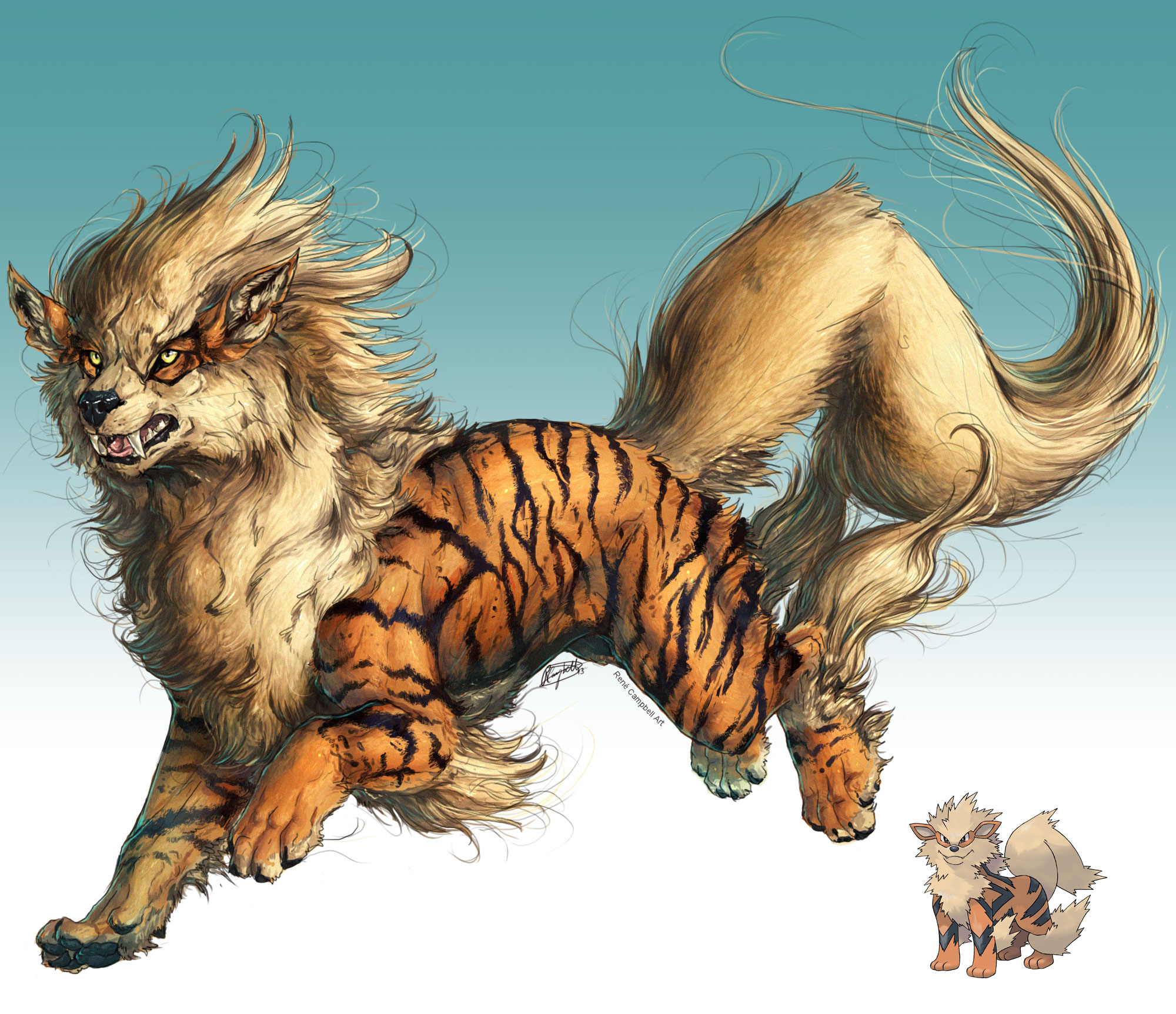 Realistic Pokemon: Arcanine by ReneCampbellArt on DeviantArt