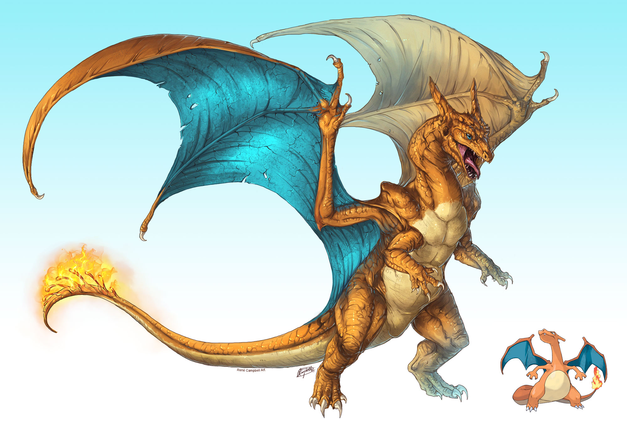 Realistic Pokemon: Charizard by ReneCampbellArt