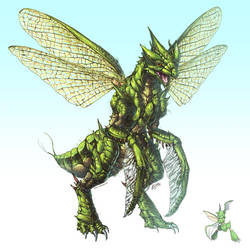 Realistic Pokemon: Scyther by ReneCampbellArt
