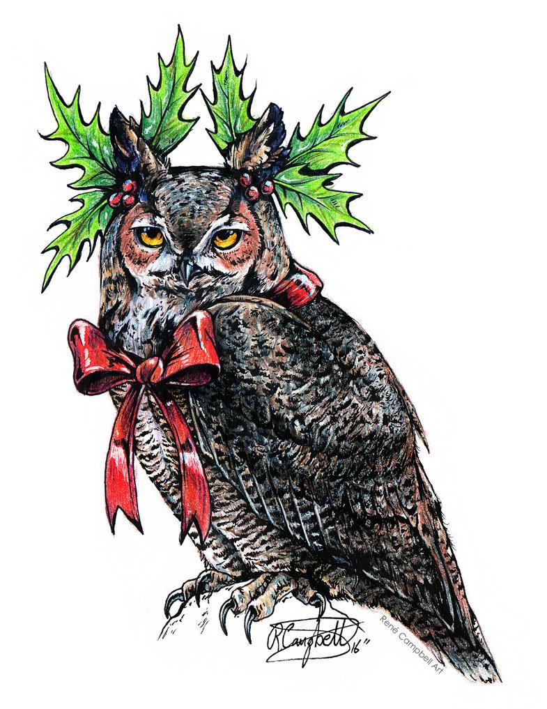 Grumpy Christmas Owl #1 by ReneCampbellArt