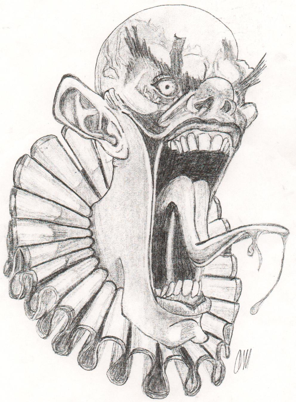 Evil Clown By Cagedspirit On DeviantART Drawings Easy