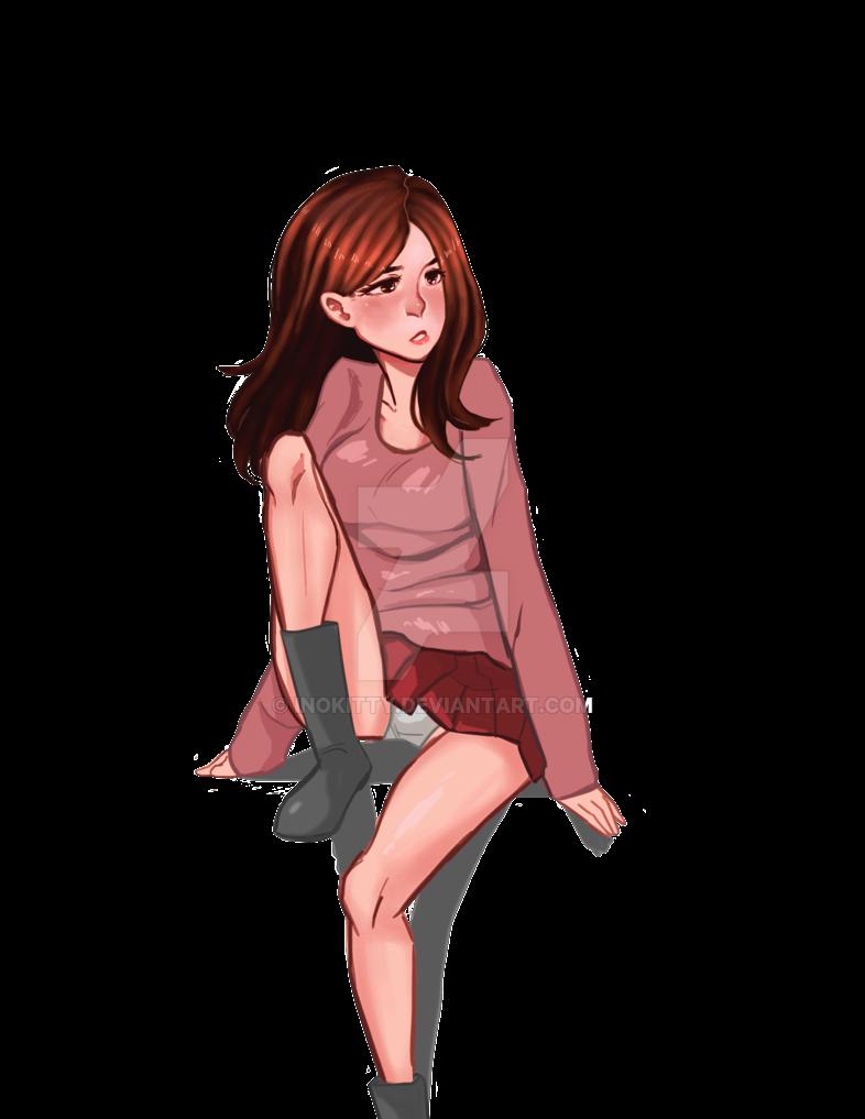 Anime girl sitting on a ledge