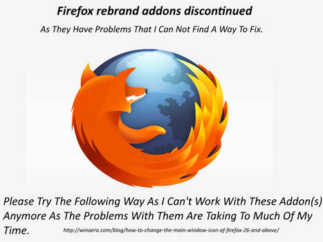 FireFox ReBrand Addons Discontinued