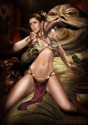 Leia and Jabba by NinjArt1st
