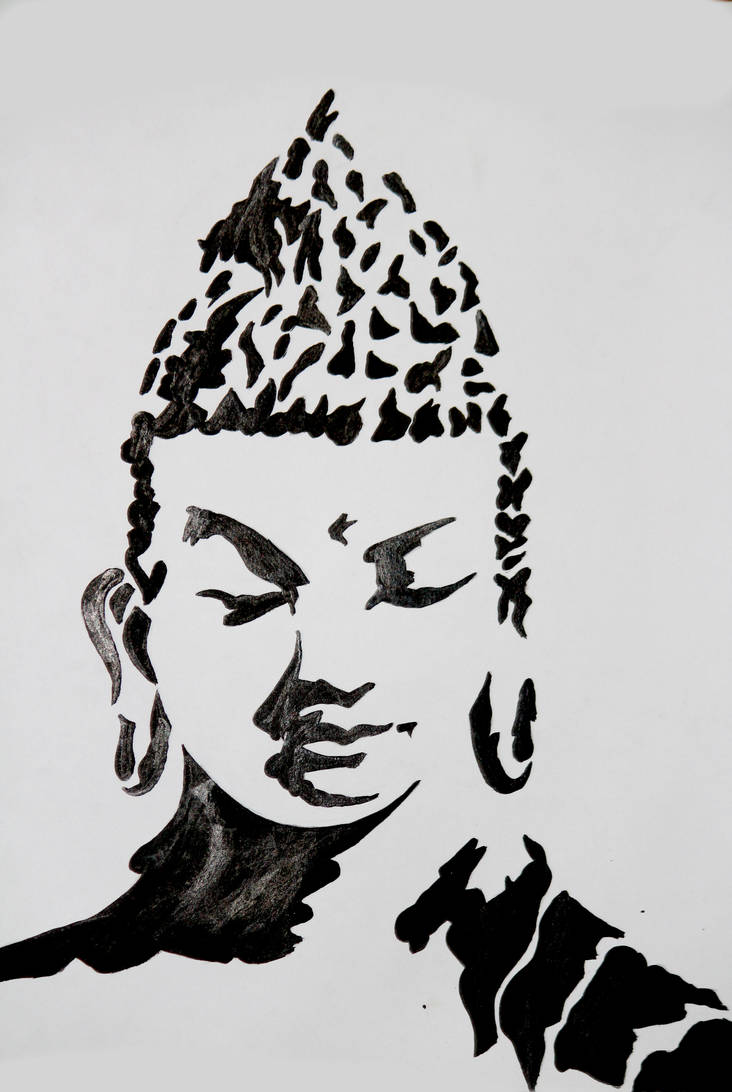Gautam buddha art black and white by abhishek2k19