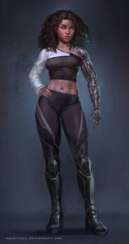 sci fi bionic arm cyberpunk girl