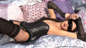 blind sleeping beauty in black lingerie