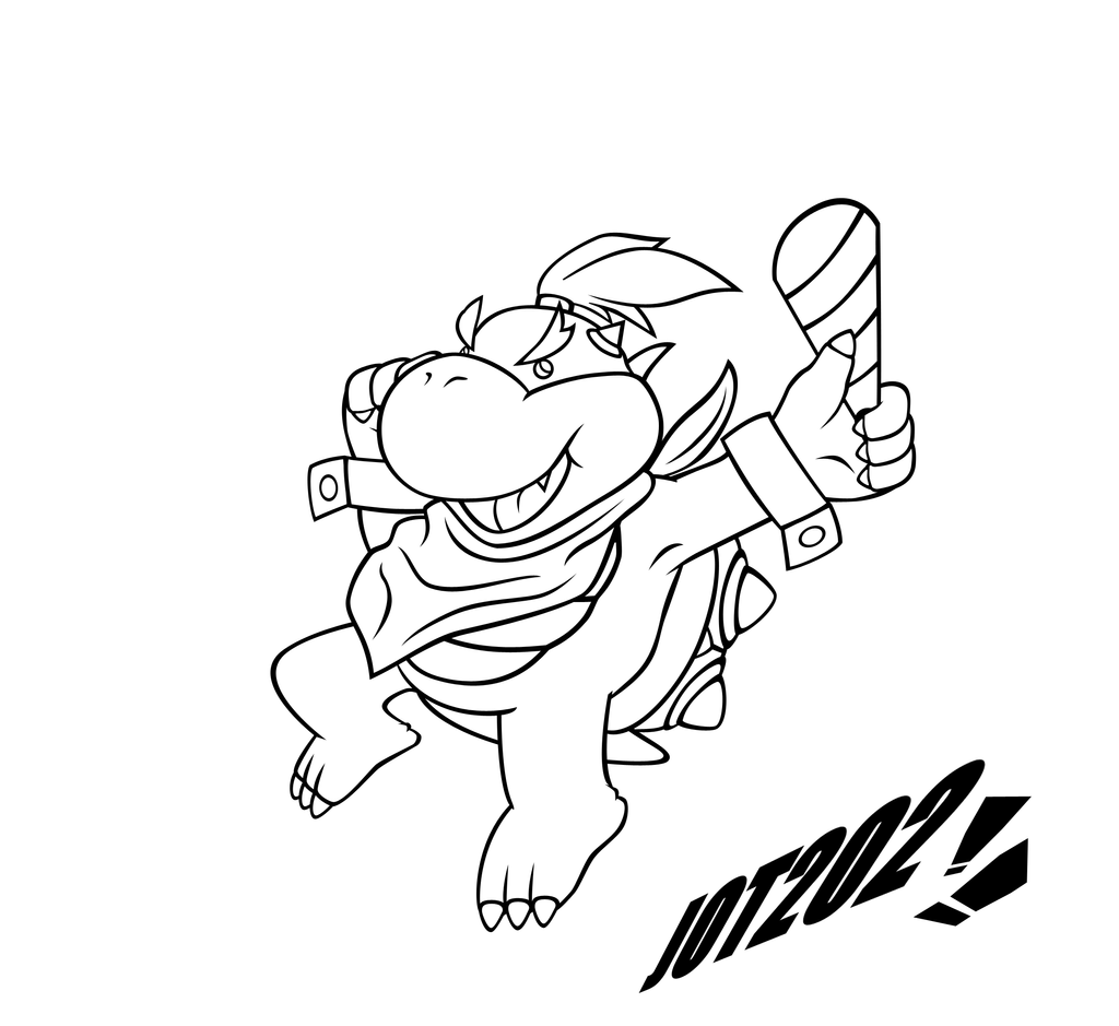 New Year S Line Art : Bowser jr new years lineart by jot on deviantart