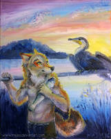 Fisherfurre with Cormorant by james-talon