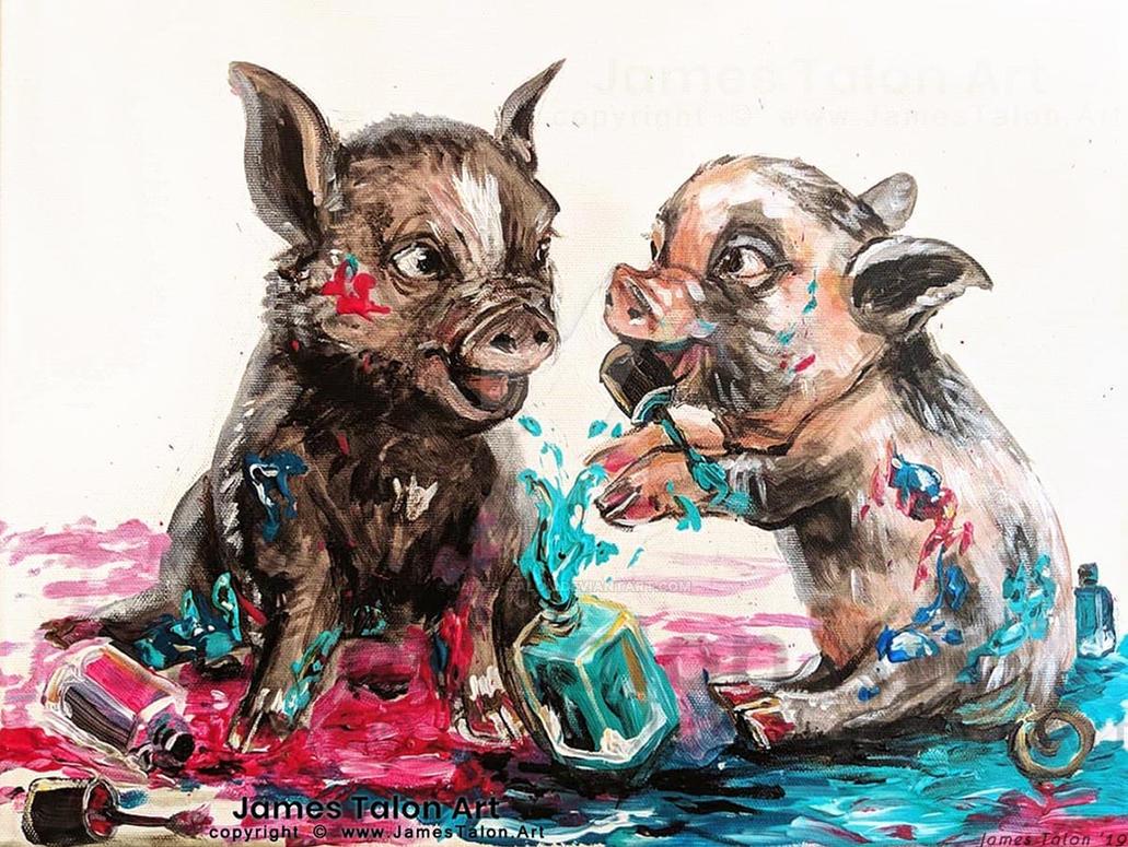 Pigs playing in nail polish