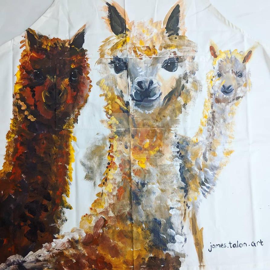 Llamas (painted on an apron) by james-talon