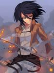 Scarfless Mikasa [+video]