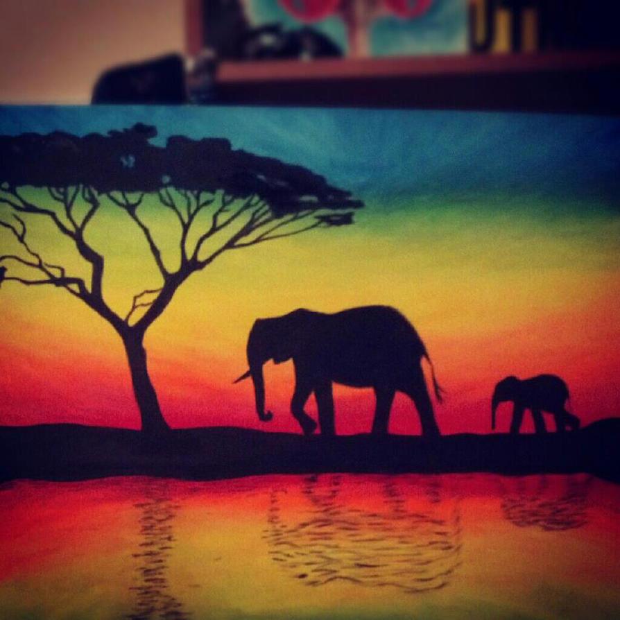 Elephant silhouette by tylertiger on deviantart for Black painting ideas