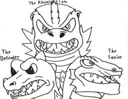 The 3 Godzillas by SmashProX