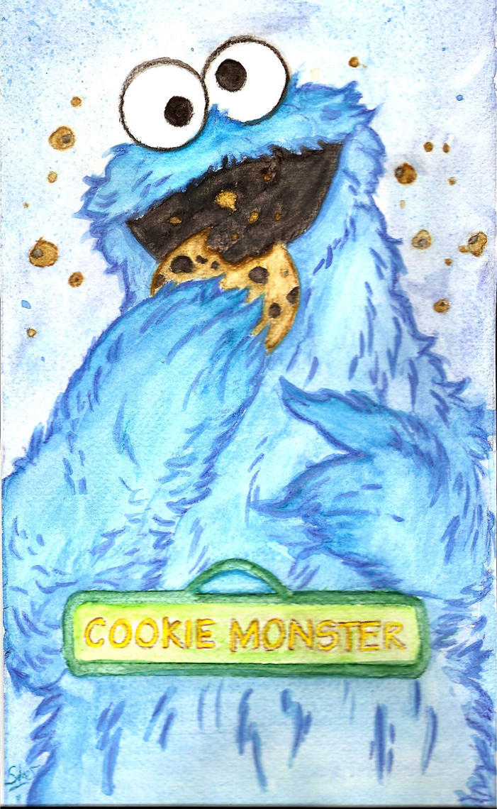 Cookie Monster watercolor by Lost-in-Hogwarts on DeviantArt