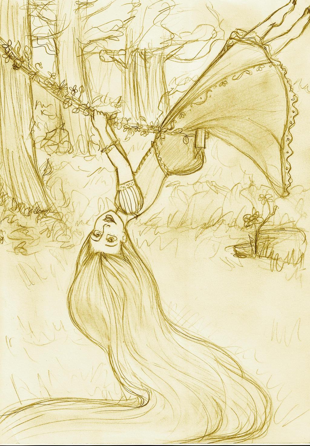 Rapunzel swinging by SerifeB