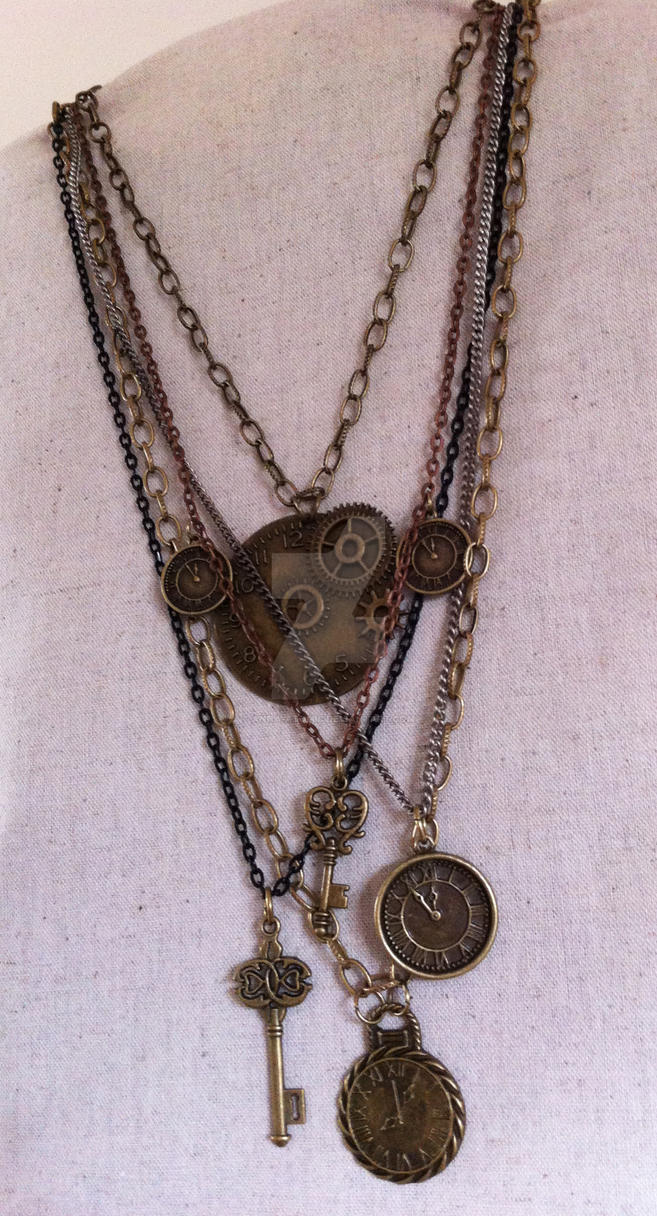 Atomic Artifacts - Steampunk Clockwork necklace by Anna-Atomic