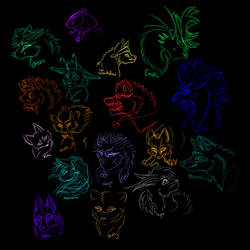 Little Neon Sketchdump by WhiteLightHeart