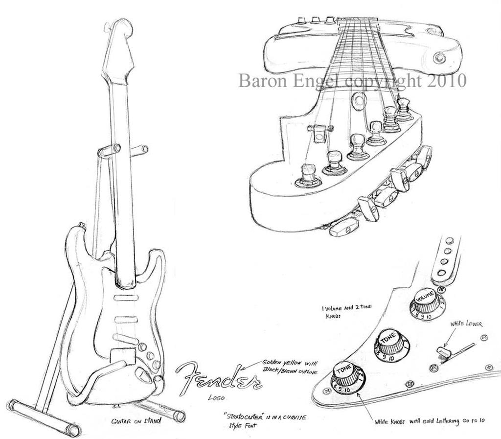 group of fender strat drawing by