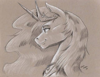 Celestia bust on toned paper by Baron-Engel
