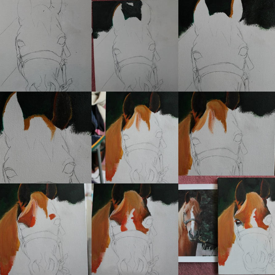 step by step canvas painting incomplete by