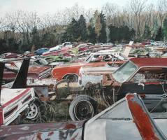Car Graveyard (Acrylic Painting On Canvas)