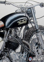 Norton Classic Motorcycle Drawing