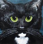 Black Tuxedo Cat 4x4 Inch Mini Canvas Painting by nethompson