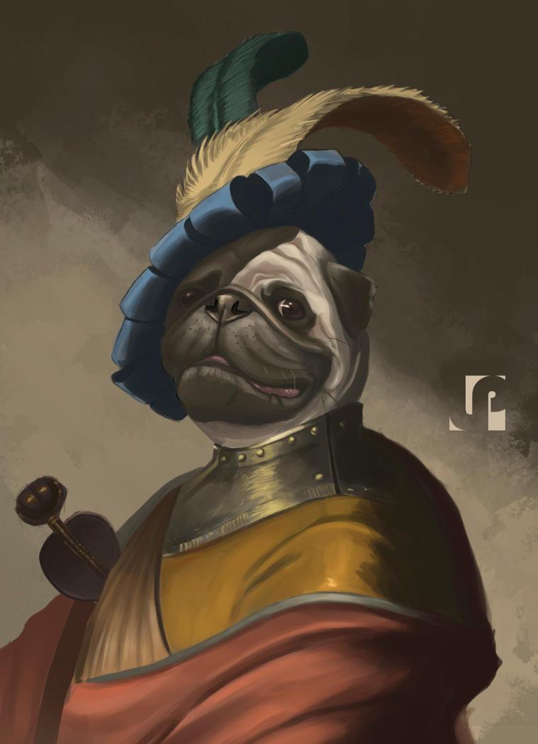 fancy pug portrait by Javilaparra