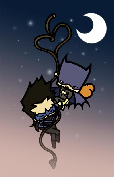 Nightwing and Batgirl by drwarumono