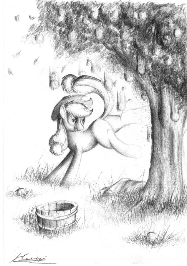 Applejack pen'n'paper by Huussii