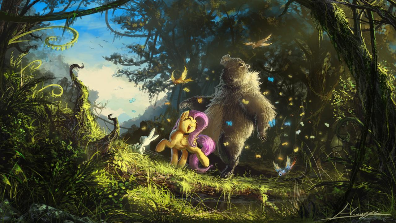 Hakuna matata, Fluttershy! by Huussii