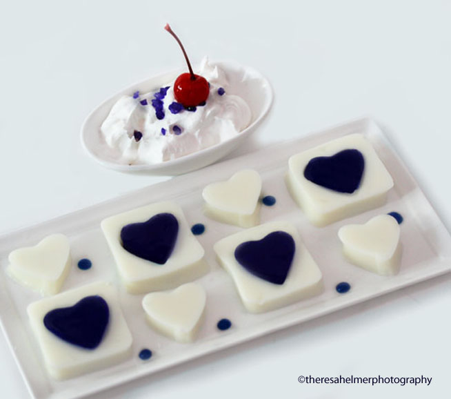 Blue Jello Hearts by theresahelmer