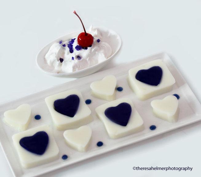 Blue Jello Hearts by theresahelmer