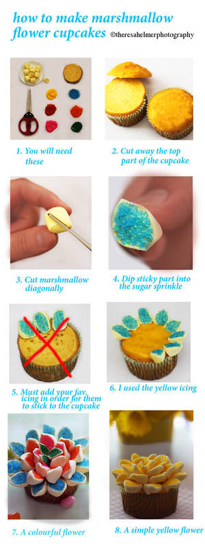 Tutorial For Marshmallow Flower Cupcakes