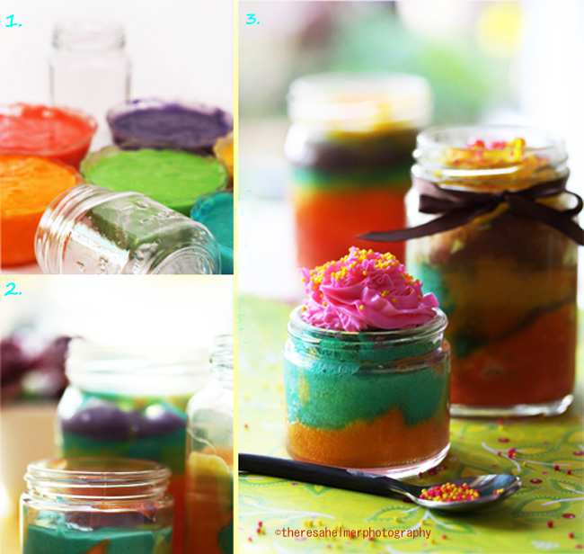 Rainbow Cake In Jars by theresahelmer