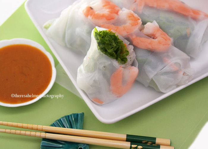 Vietnamese Shrimp Rolls with Peanut Sauce by theresahelmer