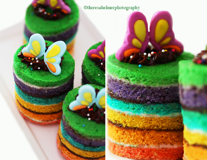 Teeny Tiny Rainbow Cakes by theresahelmer