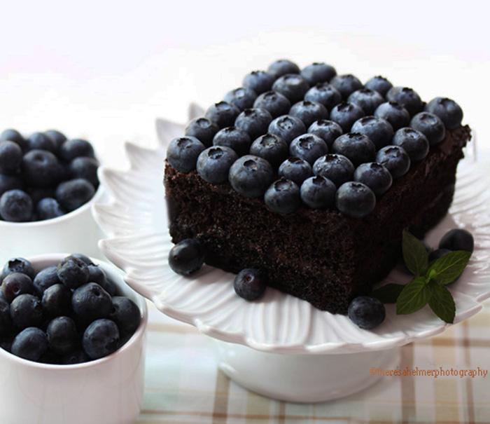 Dark German Chocolate Cake w/ Fresh Blueberries by theresahelmer