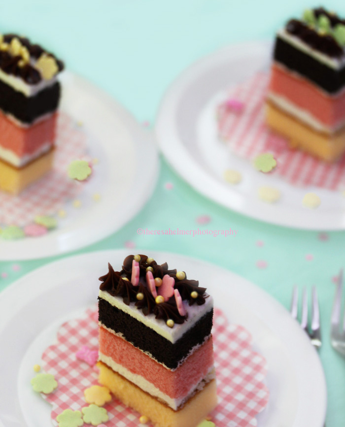 Neapolitan Individual-sized Cake by theresahelmer