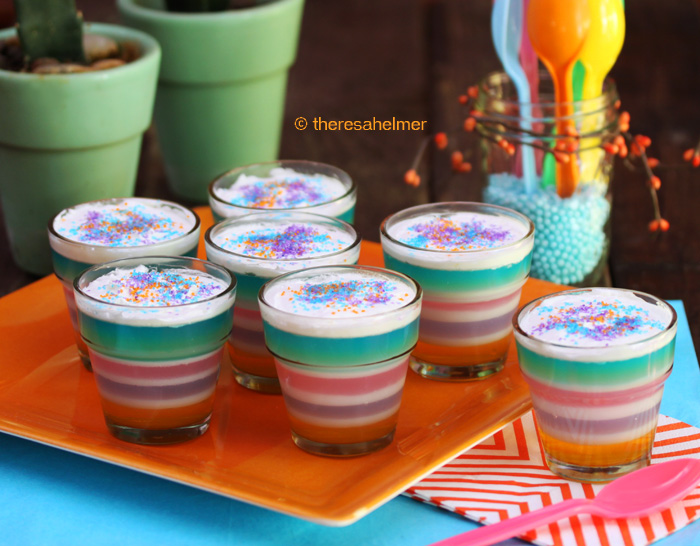 Pastel Jello in Glass Flower Pots by theresahelmer