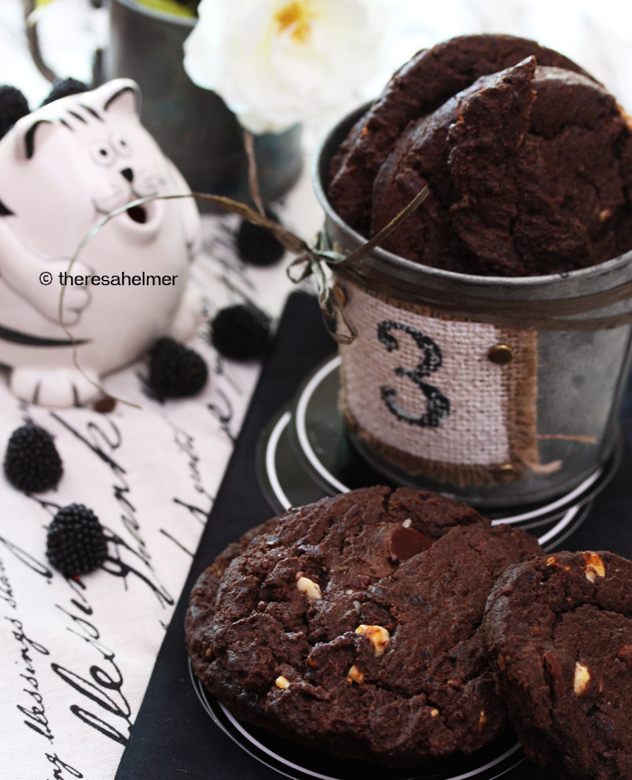 Dark Chocolate Chip Cookies w Macadamia Nuts by theresahelmer