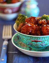 Orange Chicken n Broccoli Beef Over Rice