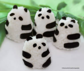 Panda Bear Rice Balls n We Heart Bamboos by theresahelmer